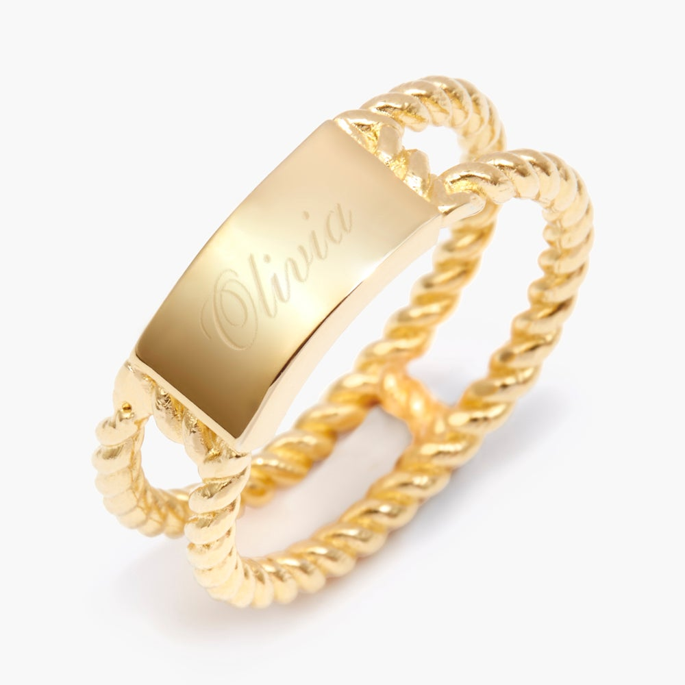 Engraved Gold Rope Ring