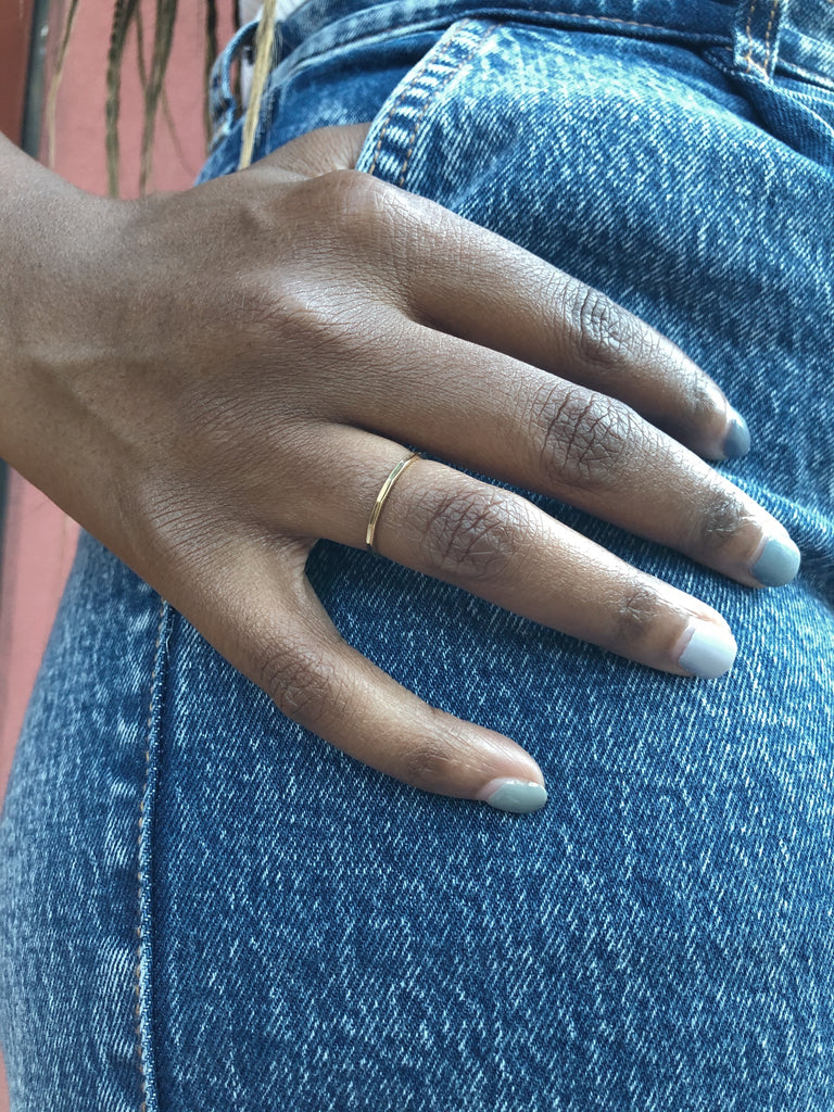 $influencer @chante_allday wearing Nell Extra Thin Ring by @brookandyork