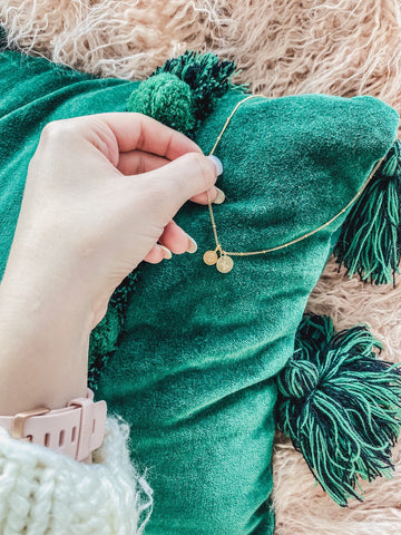 $influencer @kyleekrashlanding flat lay image of Rose Quartz Nola Gemstone Necklace by @brookandyork