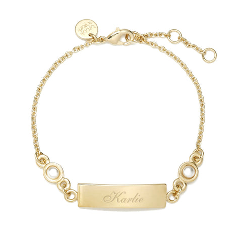 Leila Pearl Name Bar Bracelet
