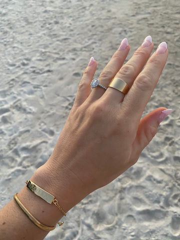 $influencer @mackday wearing Elena Roman Numeral Bar Bracelet by @brookandyork