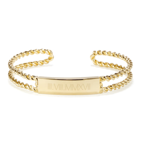 Roman Numeral Avery Rope Cuff Bracelet