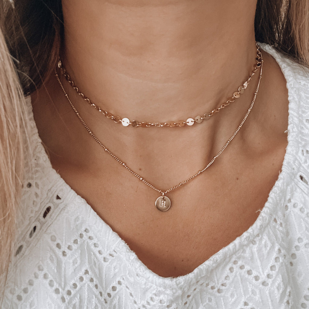 $influencer @sierra.honeycutt wearing Madeline Initial Pendant by @brookandyork
