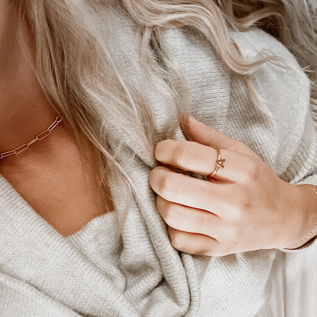 $influencer @thislittlemom wearing Everly Initial Ring by @brookandyork