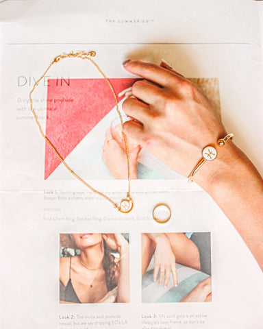 $influencer @tokyotolagirl flat lay with Ava Petite Zodiac Necklace by @brookandyork