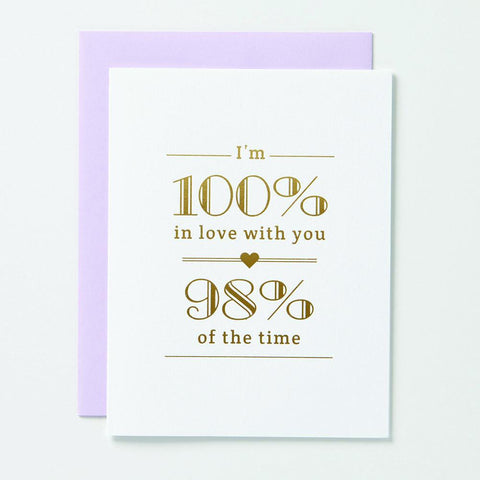 100% In Love Card