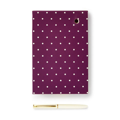 Loose Note Holder With Pen, Plum Dot