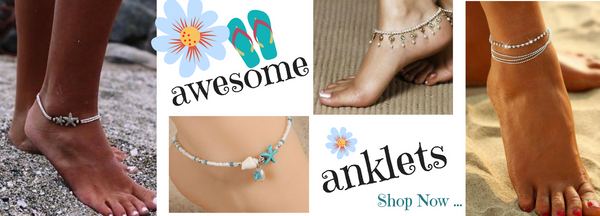 Beautiful Beachy Beach Anklets that are Summer Jewelry ready in array of styles including Dangle Anklets, Starfish Anklets & Chain Anklets. Each Ankle Bracelet is unique and creates a great style to make an accessory statement on your foot or feet.