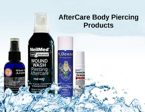 "Stock up on our fresh, natural, anti-bacterial aftercare products--proven to be an excellent choice for healing body piercings. Our products prevent piercing infections and promotes faster healing. Starting with the all natural and best selling sea salt aftercare collection, ""H2Ocean"",""Whole Life"" Tea Tree Oil family collection, encouraging natural hygiene for piercings and NeilMed saline wash. Fashion Hut Jewelry aftercare products are to be used for treating body piercings only. We provide the BEST aftercare products and are to be used as instructed by product label."