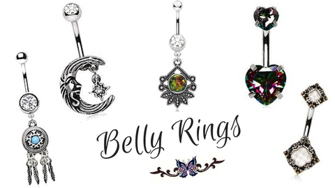 Wide selection of beautiful Belly Button Rings, Navel Rings & Belly Rings. This Belly Piercing Jewelry Collection shines, shimmers and Dangles. Our variety of Top down navel rings and double jeweled belly button rings are among some of the styles of our Navel Jewelry that are very popular. They include Dangle belly rings with beautiful colors from clear and brilliant blues, as well as fiery reds and turquoise stones. Some navel rings have no stones at all if that's what you prefer. We carry ornate navel styles, skulls, jeweled dangles, as well as moon and stars, just to name a few. Our 316 surgical steel Navel Rings & 14kt Gold Belly Rings absolutely sparkle and shine. Butterflies, turtles and a huge variety of Heart belly button styles to create your unique piercing look. Lastly, don't forget about our Captive ring styles that are perfect for everyday including our popular puppy paw captive all from Fashion Hut Jewelry.