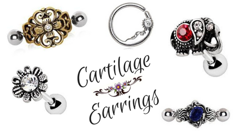 Fashion Hut Jewelry carries a huge collection of Cartilage Piercings including Cartilage Earrings, Cartilage Wraps and Cuffs, as well as Earring Studs. Whether its cute, simple, fancy or trendy Cartilage Jewelry - we got you covered. Our Flower Cartilage Earrings come in a variety of flower designs including daisies, CZ's, vintage and turquoise flower styles and our most popular, the Triple Flower style. Our Cartilage Cuff earrings are extremely popular and come in wide array of Cuff styles. We have antique cuffs, vintage style cuffs as well as stars, butterflies and Angel wings just to name a few. The Clicker Earring styles have become extremely popular which resemble a Cuff Earring but have a click closure. If your looking for more of a simpler style try our Cartilage Studs. Our Earring Stud designs consist of a variety of cross earring studs, hearts, stars, opal flowers, snakes and more. Lastly, the Cartilage Circular Rings will look great in any pierced Daith or Tragus cartilage piercing. We have PVD plated, puppy paws, and antique elephants and with its easy snap in jewelry design it makes wearing them very easy.