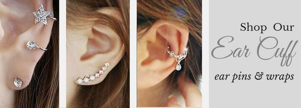 Trendy and Fun Jewelry for your ears. Piercing & Non Piercing Cartilage Cuffs, Ear Wraps Studs & Pins