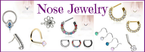 Nose Jewelry like Nose Rings & Septum Jewelry are popular especially Septum Clickers. A subtle nose ring piercing can make a bold statement & a hot seller in body jewelry. Our Nose Jewelry is from 316L Surgical Steel & 14kt yellow gold. We carry Nose rings, Septum Clickers and Nose Jewelry in a variety of styles.