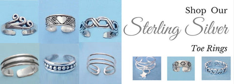 toe rings - sterling silver toe rings - Fashion Hut Jewelry