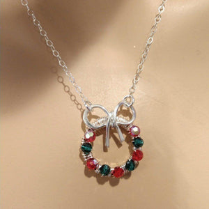 Limited Edition Christmas Ribbon Crystal Wreath Necklace