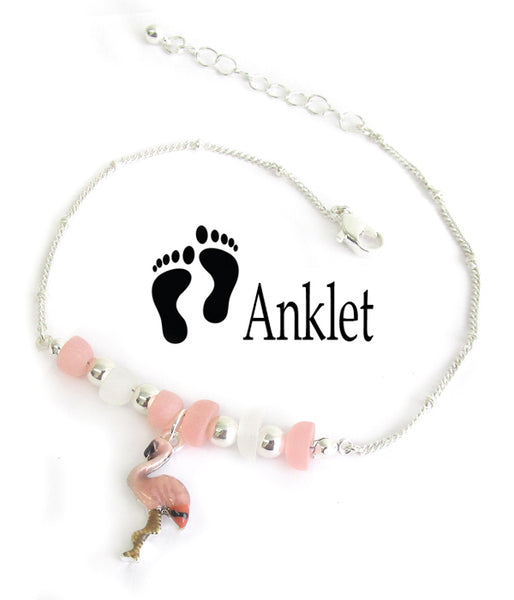 Multi Sea Glass Flamingo Anklet Ankle Bracelet - Fashion Hut Jewelry