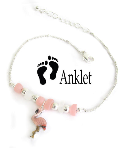 Multi Sea Glass Flamingo Anklet - Fashion Hut Jewelry