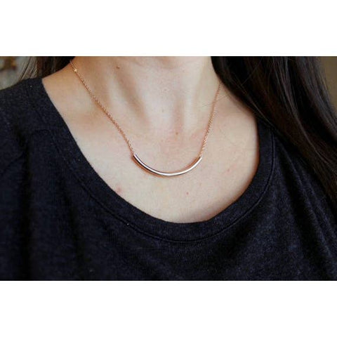 Curved Tube Necklace - Fashion Hut Jewelry