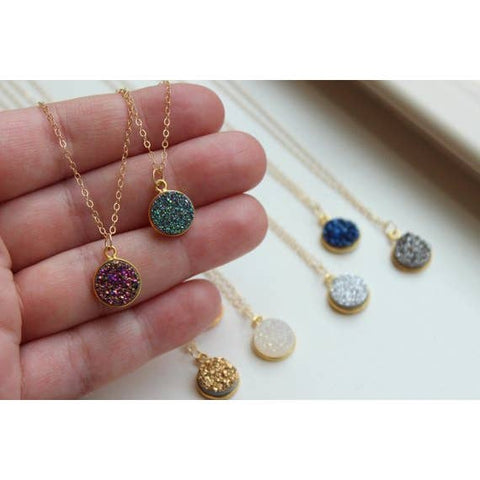 Round Druzy Necklace - Fashion Hut Jewelry