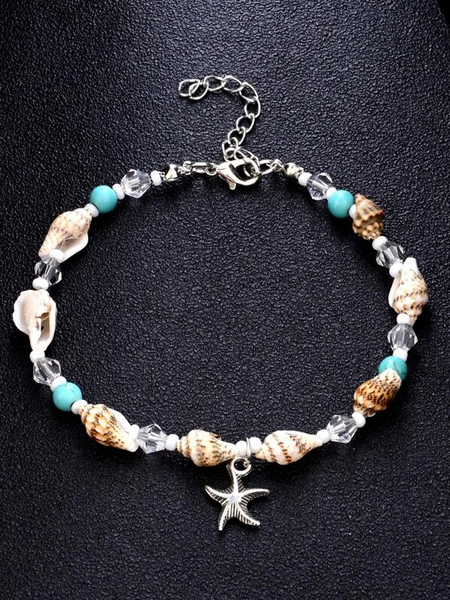 Multi Beads and Shell Mix Anklet Ankle Bracelet - Starfish - Fashion Hut Jewelry