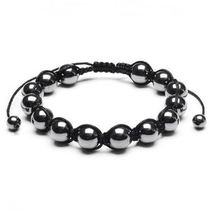 10mm Hematite Stone Beaded Adjustable Men's Bracelet - Fashion Hut Jewelry