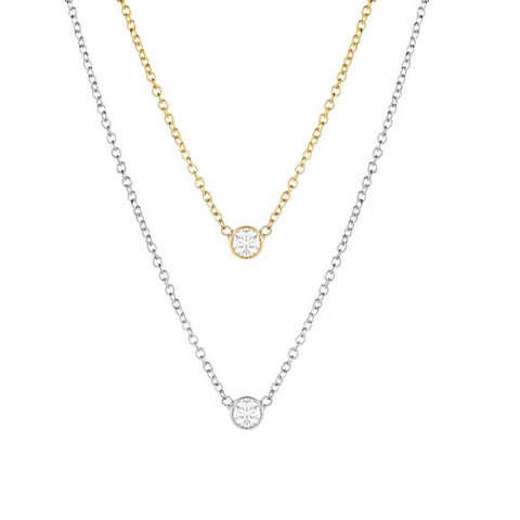 Solitaire Single CZ Diamond Necklace - Fashion Hut Jewelry