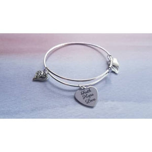 Faith Hope Love Charm Bangle Bracelet - Fashion Hut Jewelry