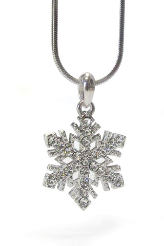 Silver Cz Cubic Zirconia Snowflake Winter Pendant Necklace Chain - Fashion Hut Jewelry