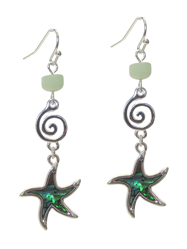 Sea Life theme Abalone Earrings - Starfish - Fashion Hut Jewelry