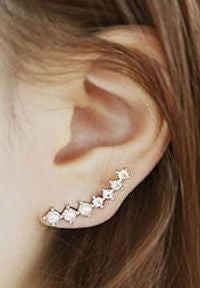 Celebrity Inspired Crystal Ear Climbers Earring Pins - Pair - Fashion Hut Jewelry
