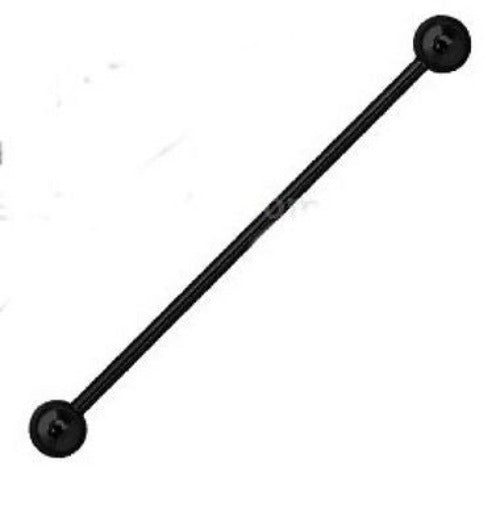 14g (1.6 mm) Black Titanium Anodized Industrial Barbell Earring - Fashion Hut Jewelry