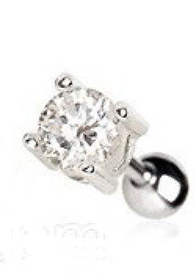 Prong Set Round Clear Cz Cartilage Earring - Fashion Hut Jewelry