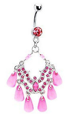 Pink SEA Plethora Chandelier Belly Navel Ring - 14g (1.6 mm), Surgical Steel - Fashion Hut Jewelry