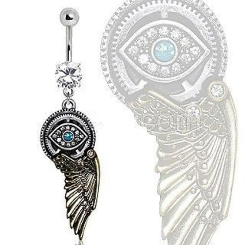 Gemmed Steampunk All Seeing Eye Navel Ring w/ Mechanical Wing Dangle Belly Ring - Fashion Hut Jewelry