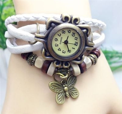 Retro Wrap Multi Row Leather Bracelet Watch - White - Fashion Hut Jewelry