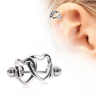 Interlocking Hearts Cartilage Cuff - Heart Cartilage Piercing - Fashion Hut Jewelry