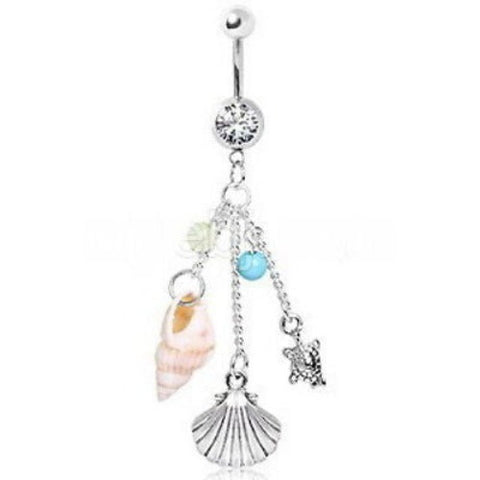 Beach Charms Dangle Navel Ring Belly Ring 10 mm, 14g (1.6 mm) - Fashion Hut Jewelry
