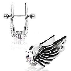 Angel Wings Cartilage Earring - Feathered Angel Wings w/ Gem Cartilage Piercing - Fashion Hut Jewelry