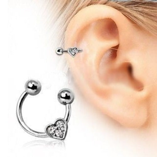 HORSESHOE CARTILAGE EARRING WITH GEMMED HEART - Fashion Hut Jewelry