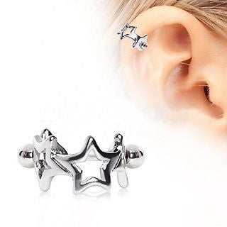 Surgical Steel Star Cartilage Cuff Cartilage Piercing - Fashion Hut Jewelry