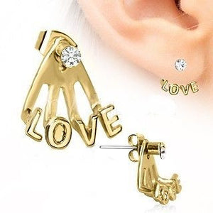 Trident Triple Love Cuff Earring Cuff Piercing - Fashion Hut Jewelry