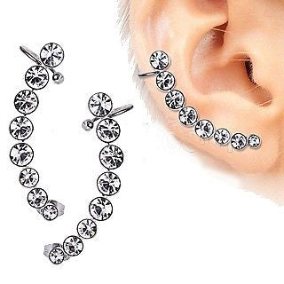 316L Surgical Steel Descending Gems Crescent Cartilage Earring - Fashion Hut Jewelry