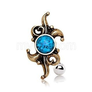 Antique Turquoise Hinged Top Down Navel Ring - Fashion Hut Jewelry