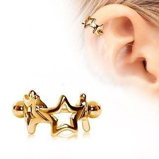 Star Cartilage Cuff Cartilage Piercing Gold Stars Cartilage Earring - Fashion Hut Jewelry