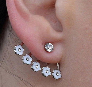 Crystal Flower Ear Cuff Stud Earring White Daisy Pierced Earring - Fashion Hut Jewelry