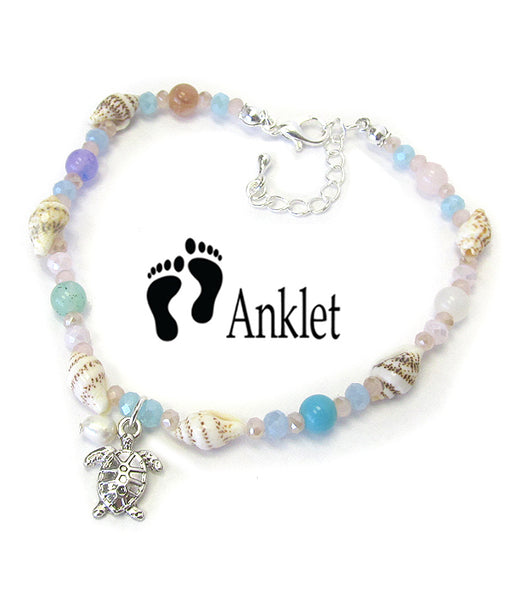 Multi Sea Glass and Shell Mix Anklet Ankle Bracelet - Turtle - Fashion Hut Jewelry