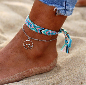2PCS Boho Turquoise Sea Wave Anklet Ankle Bracelet - Fashion Hut Jewelry