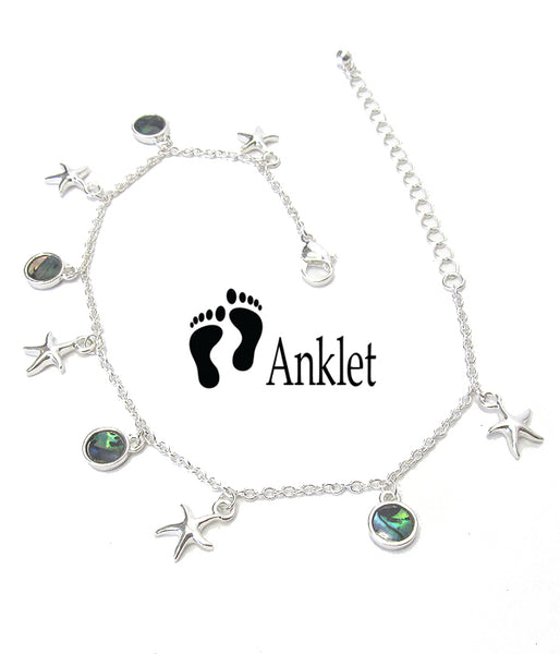 Abalone Charms Starfish Anklet Ankle Bracelet - Fashion Hut Jewelry