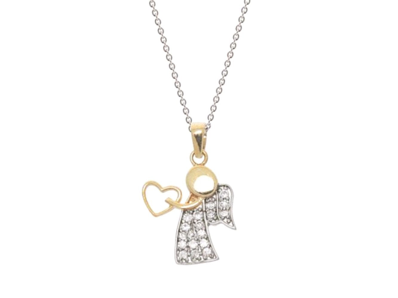 Love Angel Pendant Necklace in 18k Gold Plated Sterling Silver - Fashion Hut Jewelry