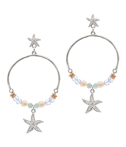 Starfish Glass Bead Hoop Earrings